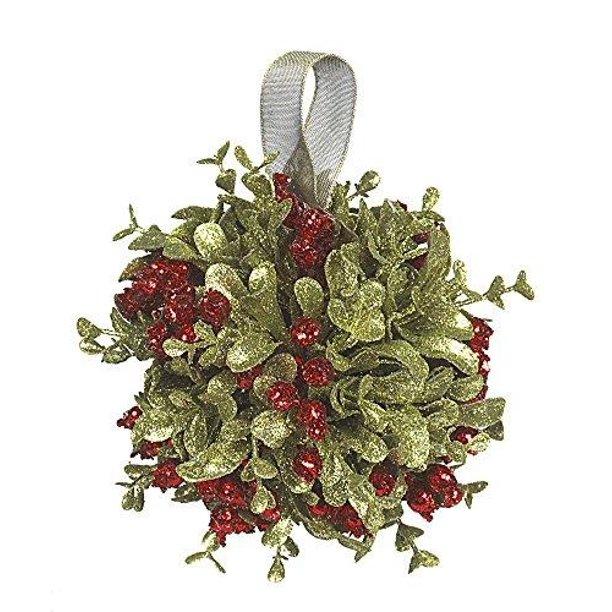 Ganz 5 Inch Mistletoe Kissing Ball Ornament Red 5 Dia Walmart