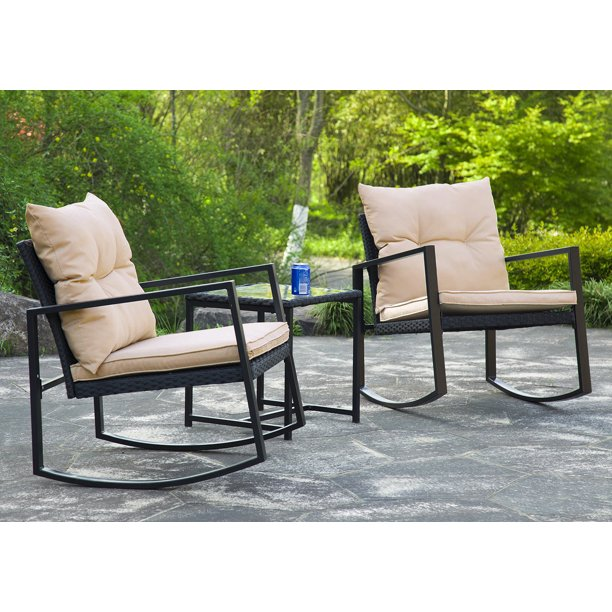 3 Pieces Patio Set Outdoor Wicker Patio Furniture Sets Rocking Chair Bistro Set Rattan Chair Conversation Sets Garden Porch Furniture Sets with Coffee Table,Black