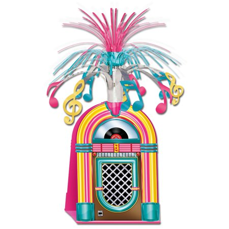 Club Pack of 12 Neon Pink, Yellow and Blue Jukebox with Tinsel Music Notes Centerpieces 15