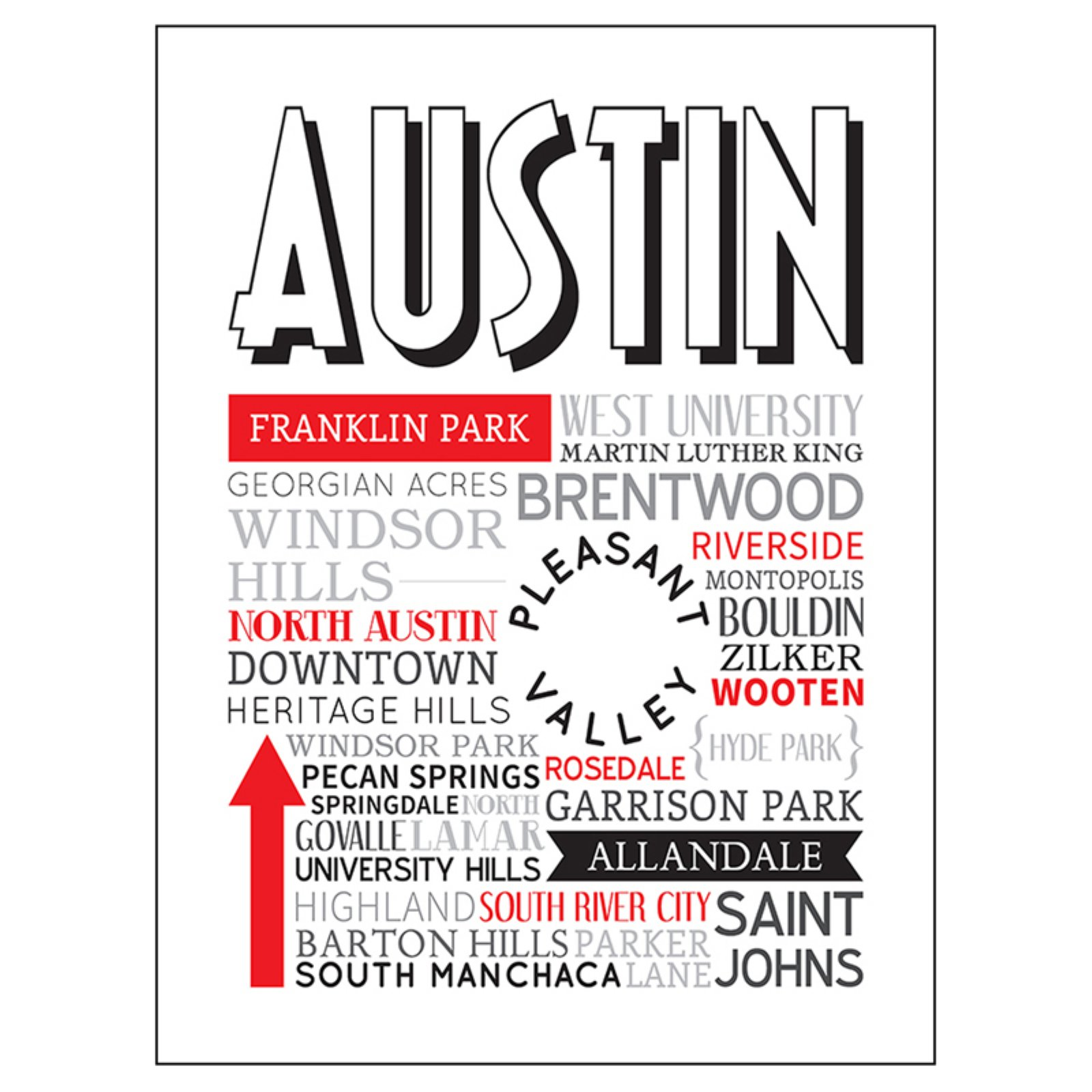 buyartforless Austin Texas Typography Canvas Wall Art