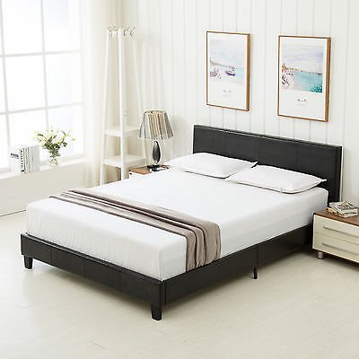 Full Slat Bedroom - Bed Frame Mecor Slats Upholstered Headboard Bedroom Faux Leather Full Size Black