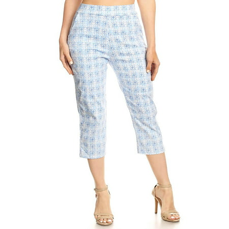 MOA COLLECTION Women's Solid Printed Basic Slim Fitted Capri Casual Pants with Plus size