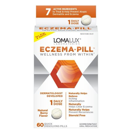 Eczema Pill  All Natural Skin Clearing Minerals   Steroid Free   Dermatologist Developed For Children   Adults  Natural Berry Flavor  60 Quick Dissolving    By Loma Lux
