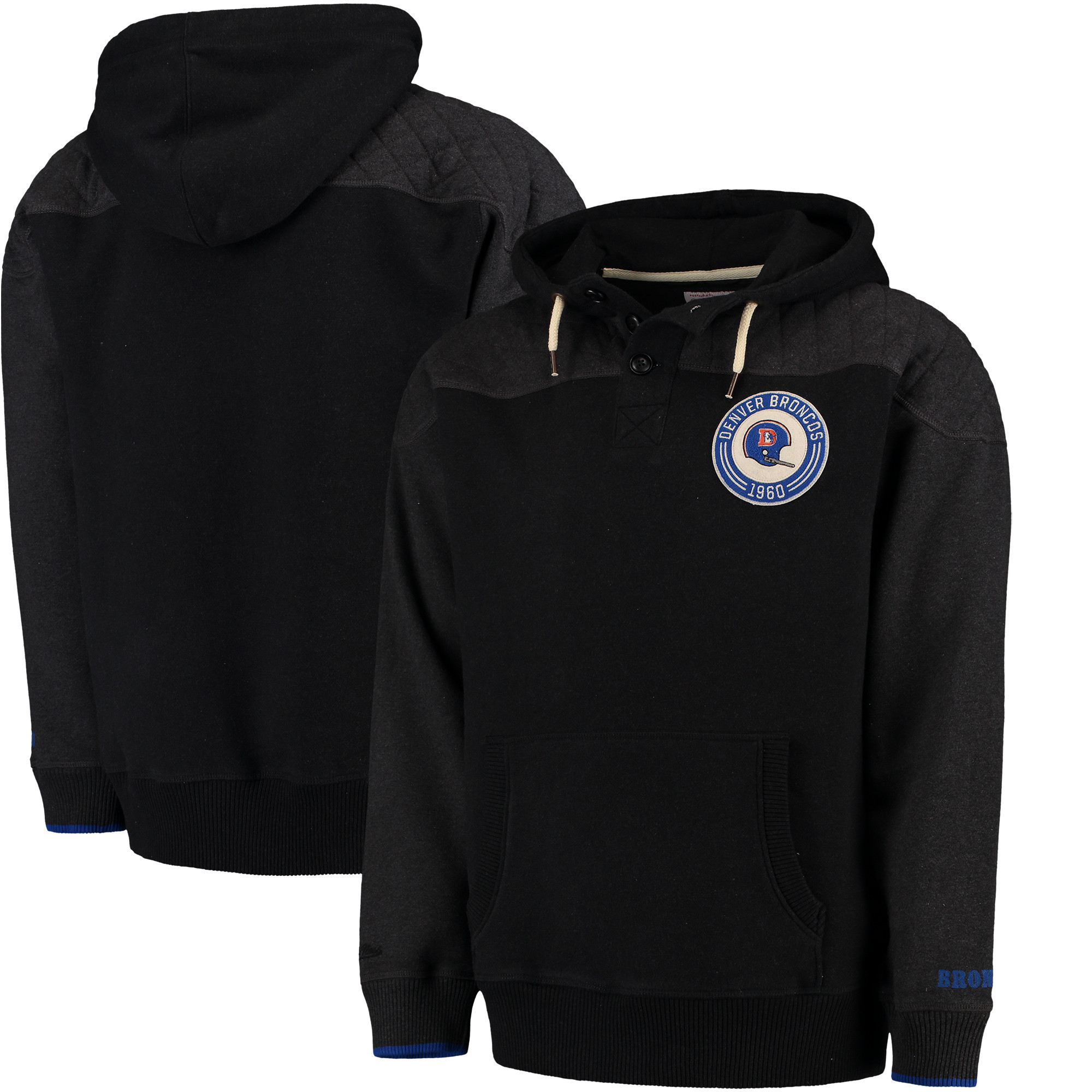 Men's Mitchell & Ness Black Denver Broncos Play By Play Pullover Hoodie
