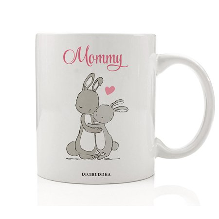 Bunny Mommy Mug, Rabbit Mother & Child Gift Idea for Her from Son Daughter Boy Girl Soon to Be Mom Baby Shower Pregnant Woman Pregnancy Christmas Present 11oz Ceramic Coffee Cup by Digibuddha DM0231