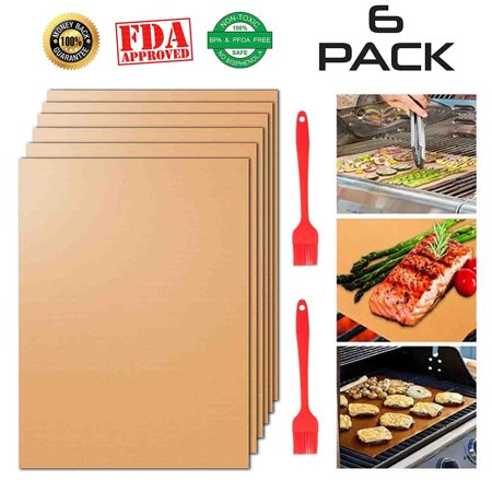 Copper Grilling Mats Set of 6, 100% Non-Stick BBQ Grill & Baking Mats Reusable and Heat Resistant BBQ Accessories for Charcoal, Gas and Electric
