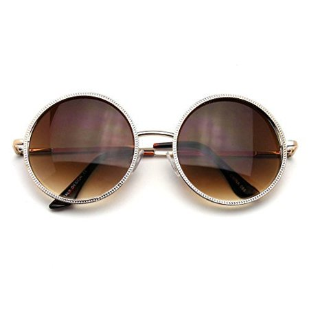 Emblem Eyewear - Designer Round Metal Fashion Vintage Inspired Circle (Black Sunglasses Gold Frame)