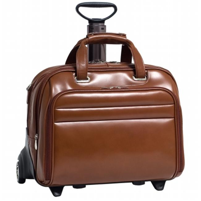 McKlein USA Midway Leather Checkpoint-Friendly 17 in. Detachable-Wheeled Laptop Case - Brown