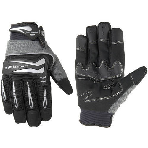 Wells Lamont Hi-Dexterity Synthetic Leather with Knuckle Protection and Touch Screen Technology Heavy Duty Work Gloves, Gray/Black
