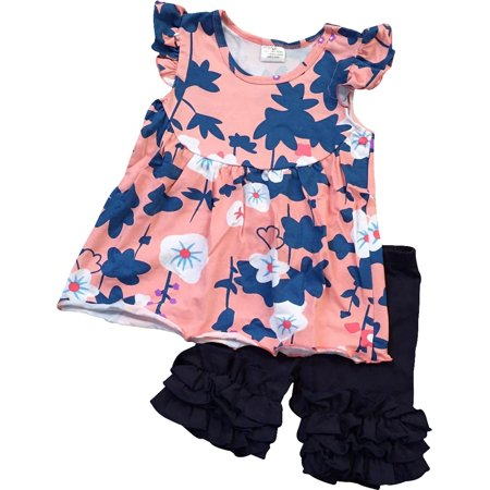 Toddler Girl Kids Floral Flowers Easter Tunic Ruffle Short Set Peach 2T XS 317200 BNY (Girls Peach)