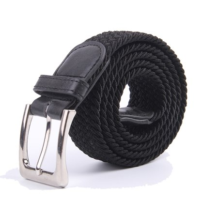 Canvas Elastic Fabric Woven Stretch Braided Belts Solid Color - Black, S