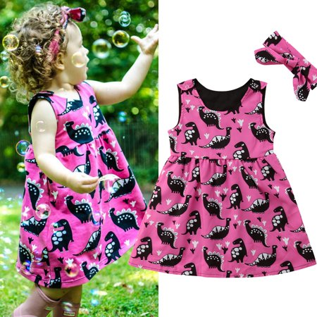 2Pcs Toddler Kids Baby Girl Sleeveless Clothes Summer Cotton Dinosaur Party Dress Sundress