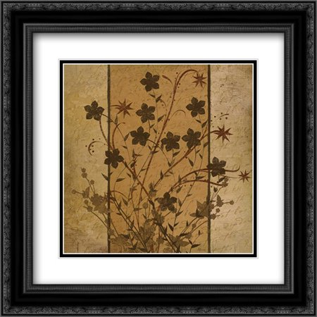 206 Matt - Flowers I 2x Matted 20x20 Black Ornate Framed Art Print by Pugh, Jennifer