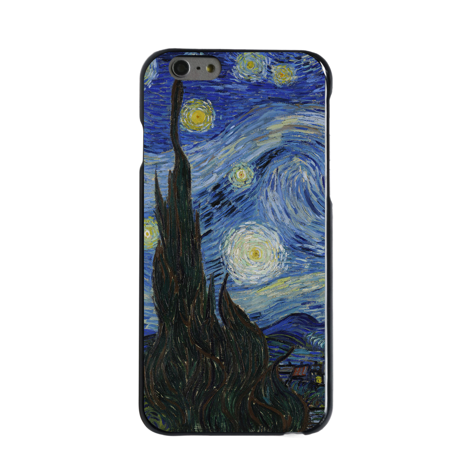 "CUSTOM Black Hard Plastic Snap-On Case for Apple iPhone 6 / 6S (4.7"" Screen) - Van Gogh Starry Night"