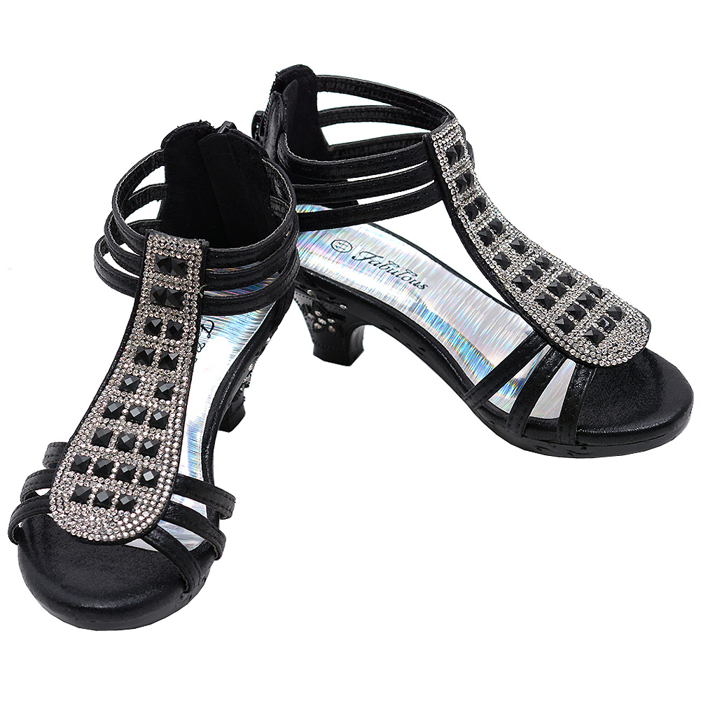 Little Girls Black Star Sparkle T-Strap Gemstone Sandals 9-10 Toddler