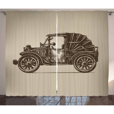 Cars Curtains 2 Panels Set, Classic Retro Car Design Early Prototypes of Automobile Semi Convertible Old School, Window Drapes for Living Room Bedroom, 108W X 63L Inches, Beige Sepia, by Ambesonne