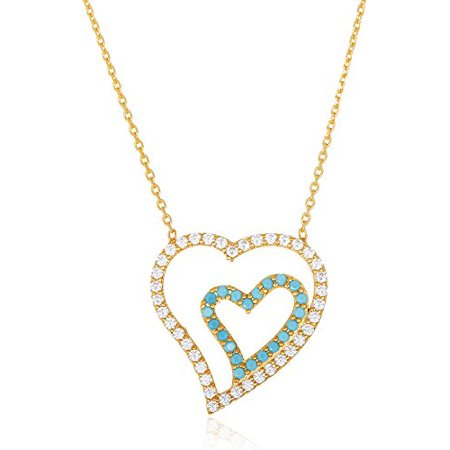 Real 925 Sterling Goldtone with Clear Blue Stones Double Heart Pendant and 18 Inch Necklace