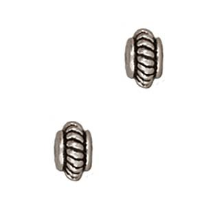 Fine Silver Plated Pewter Coil Edge Spacer Beads 5mm (10)