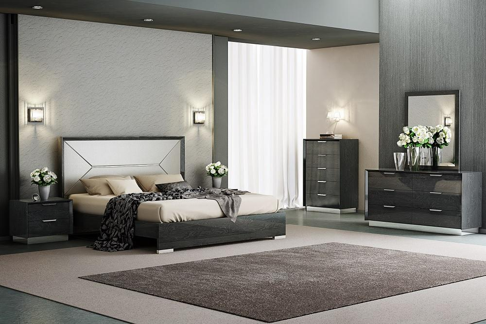 modern grey lacquer king size bedroom set 5pcs made in italy j m monte leone walmart com