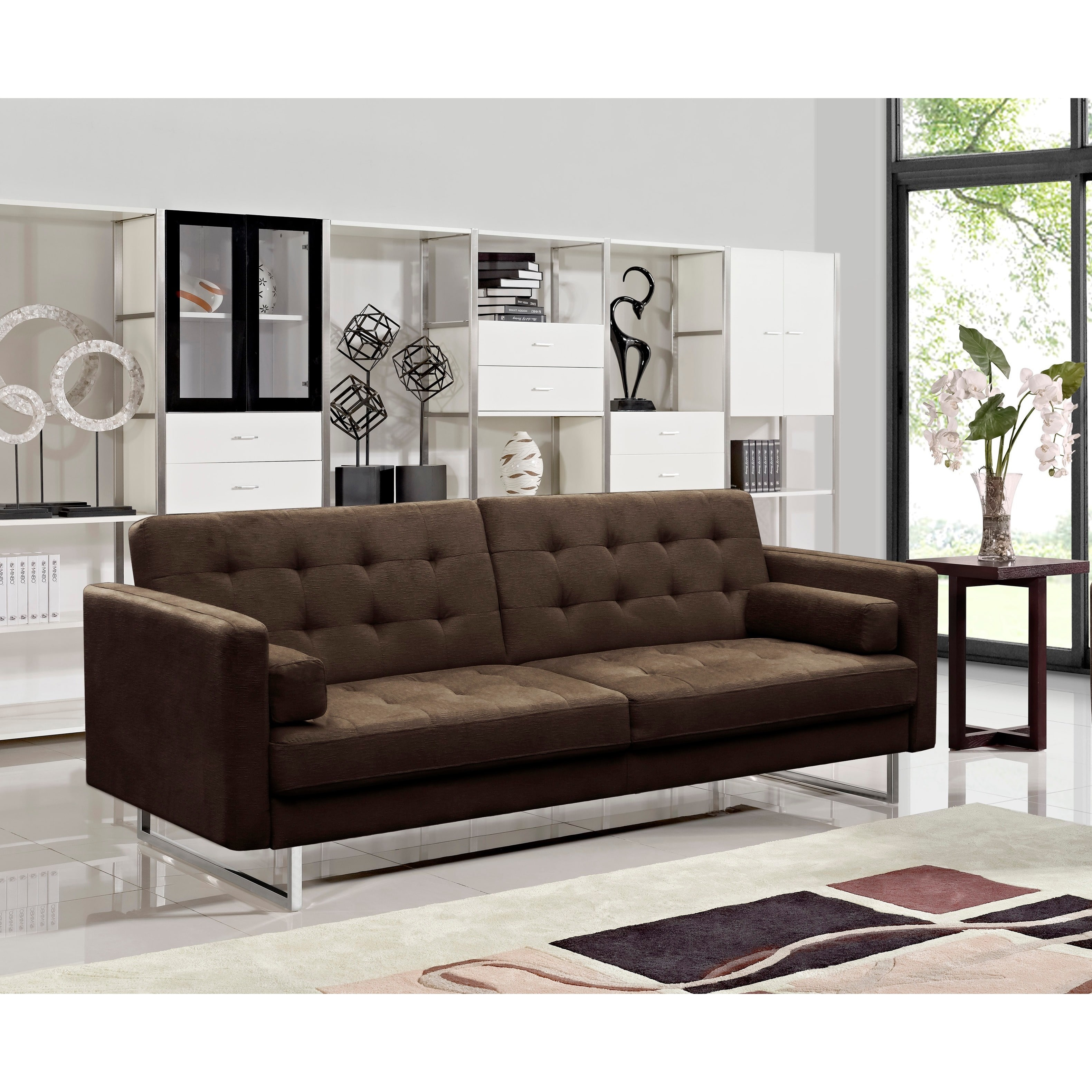 US Pride Furniture Claire Modern Fabric Upholstered Sofa Sleeper, Brown, S5055-S