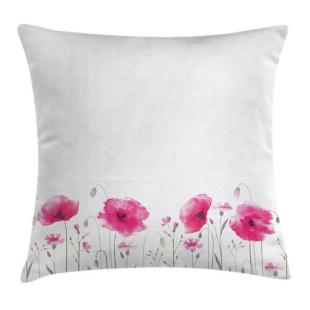 Lake House Decor Throw Pillow Cushion Cover, Mass of Flower Glade with Poppy Petals Summer Garden Field Elements Artwork, Decorative Square Accent Pillow Case, 24 X 24 Inches, Pink, by Ambesonne