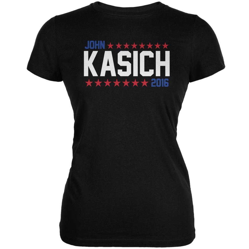 Election John Kasich 2016 American Stars Black Juniors Soft T-Shirt
