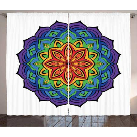 Rainbow Mandala Curtains 2 Panels Set, Colorful Mandala Design with Blossoming Cinnamon Flower Oriental Flora, Window Drapes for Living Room Bedroom, 108W X 63L Inches, Multicolor, by Ambesonne