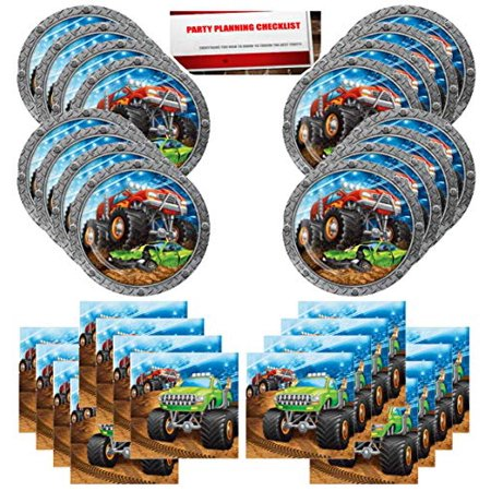 Monster Truck Rally Birthday Party Supplies Bundle Pack for 16 Guests (Plus Party Planning Checklist by Mikes Super Store)](Monster Truck Party)