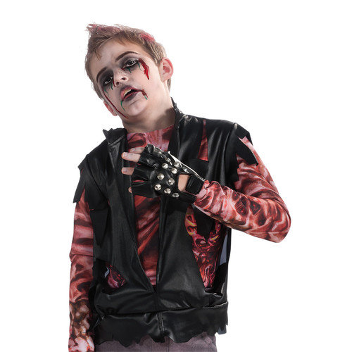 Black Studded Fingerless Right Hand Glove Costume Accessory Child One Size