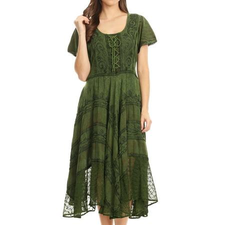 Sakkas Mila Long Corset Embroidered Cap Sleeve Dress With Adjustable Waist - Green - S/M