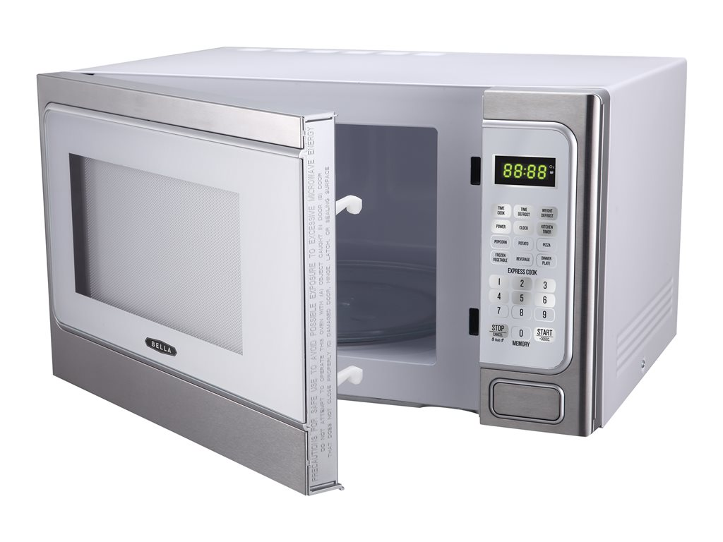 Bella 1000-Watt Microwave Oven, 1.1 cu ft, White with Stainless Steel by Edge
