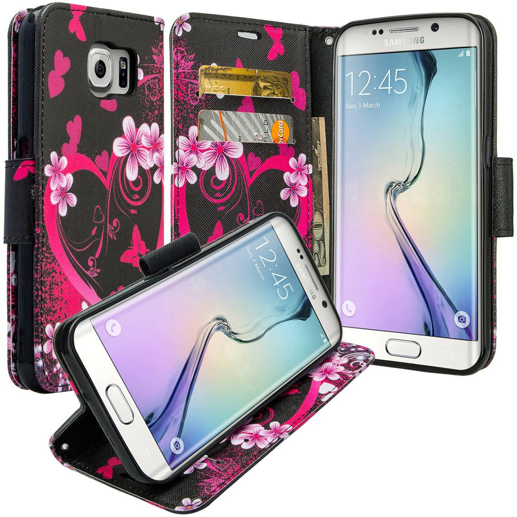 Galaxy S6 Edge Plus Case, Slim Magnetic Flip Kickstand Wrist Strap Leather Wallet Cover - Heart Butterflies