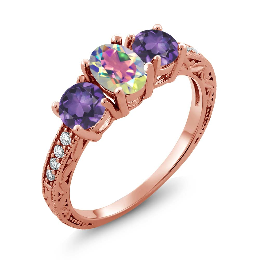 1.82 Ct Oval Mercury Mist Mystic Topaz Purple Amethyst 18K Rose Gold Ring by