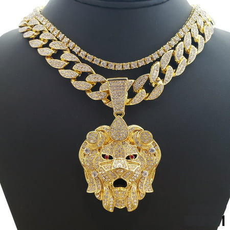 Chain Gold Tone Jewelry Set (Hip Hop Bling 14K Gold Tone Plated Lion Head w/ 18