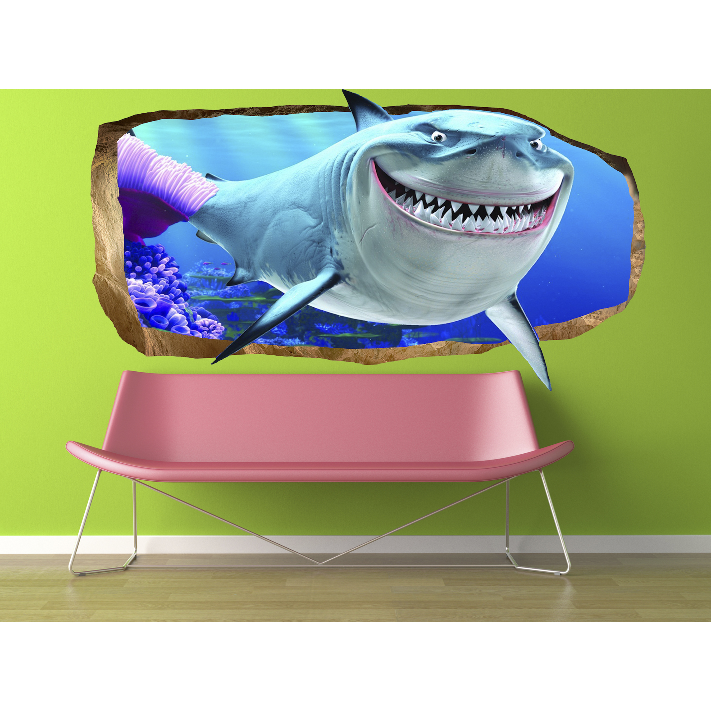 Startonight 3D Mural Wall Art Photo Decor Pink Shark Amazing Dual View Surprise Wall Mural Wallpaper for Bedroom Kids Wall Art Gift Large 47.24 ������ By 86.61 ������