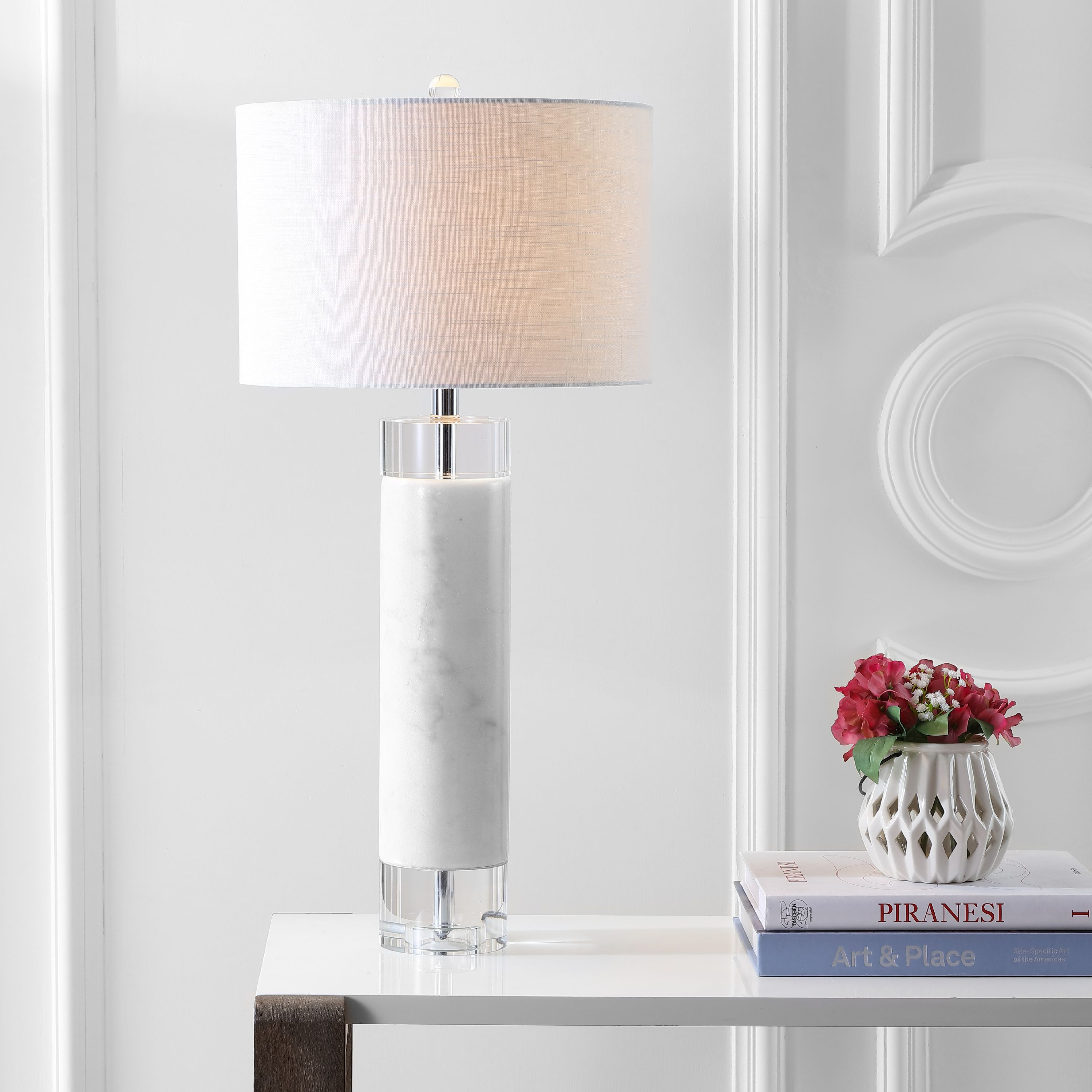 "Hunter 32"" Marble/Crystal LED Table Lamp, White"