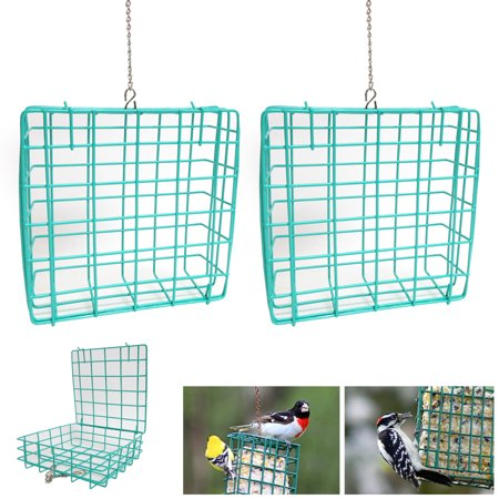 2PK Outdoor Wild Bird Suet Cake Feeder Vinyl Garden Seed Food Tree Hanging Patio