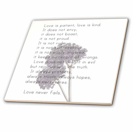 3dRose Love is Patient, Love is Kind Verse with Lavender Flowers - Inspirational - Ceramic Tile, 6-inch