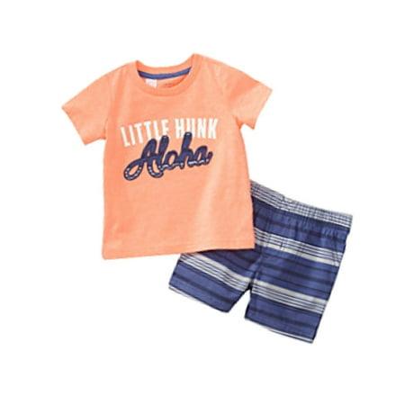 Carters Infant & Toddler Boys Coral Little Hunk Baby Outfit Aloha Shorts Set - Lane Kjl Coral