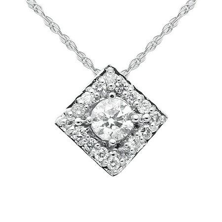- Square Halo Diamond Shape Ladies 14k White Gold Pendant Necklace Singapore Chain 19in