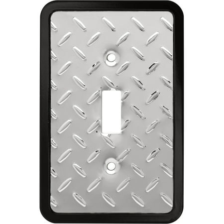 Franklin Brass Diamond Plate Single Switch Wall Plate in Polished Chrome ()