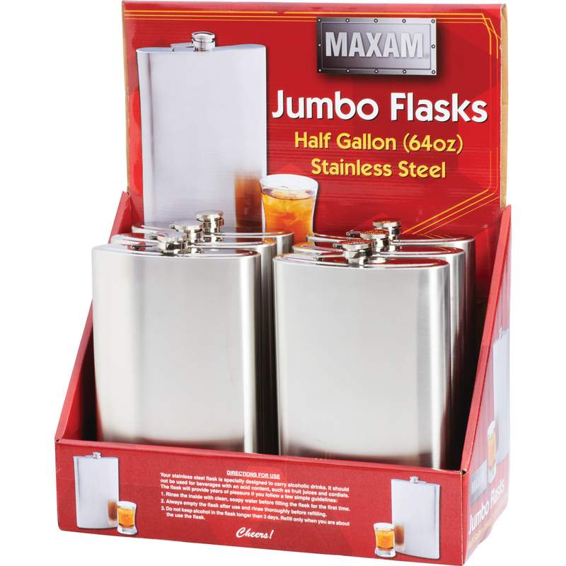 Maxam® 6pc 64oz Stainless Steel Flasks in Countertop Display