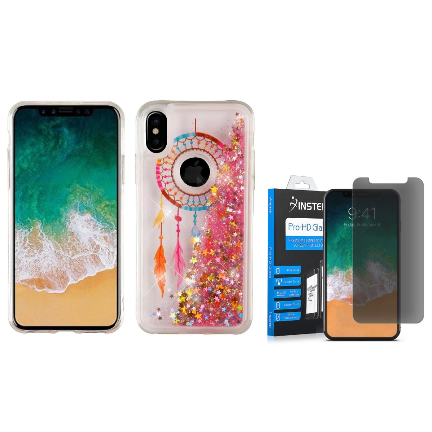 "iPhone X Case, by Insten Quicksand Glitter Dreamcatcher Dual Layer Hybrid Hard Plastic/TPU Rubber Case Cover for Apple iPhone X 5.8"" (2017) - Multicolor (Bundle with Anti Spy Privacy Glass Protector)"