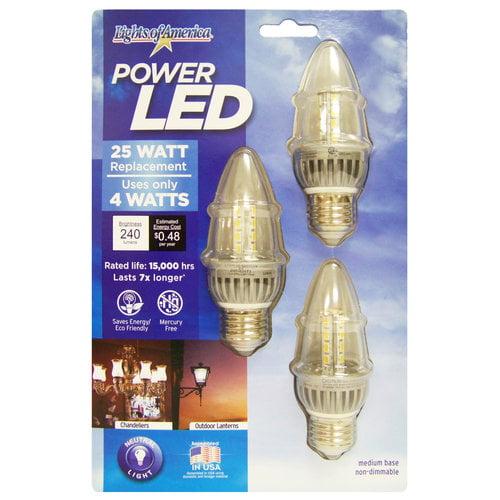 Lights of America 4W LED Flame Tip Bulbs, Regular Base, 3pk