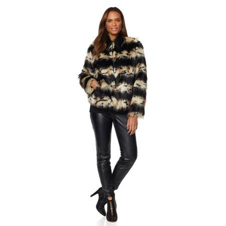 ADRIANNE LANDAU CHUBBY Faux Fur Womens Jacket Coat WILD LEOPARD 2X thumbnail