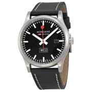 Retro Day Date Black Dial Black Leather Mens Watch A6673030819SBB