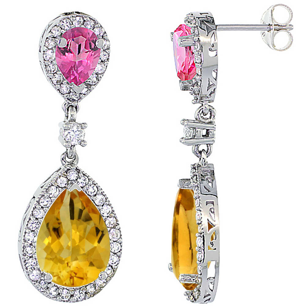 10K White Gold Natural Citrine & Pink Topaz Teardrop Earrings White Sapphire & Diamond by WorldJewels