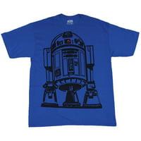 Star Wars Tall Mens T-Shirt - R2-D2 Giant Black Line Drawn R2D2 Image (XX-Large)