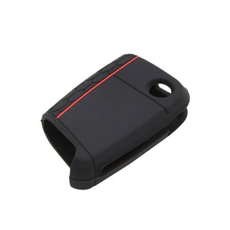 Black 3 Button Car Remote Key Case Holder Shell Cover for Skoda - image 2 de 3