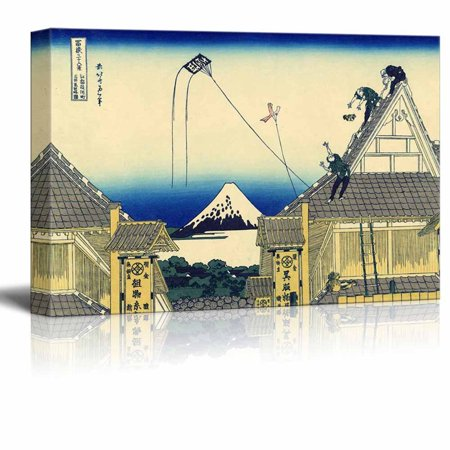 """wall26 Canvas Wll Art - Mitsui Shop in Suruga in Edo by Japanese Artist Hokusai - Thirty-six Views of Mount Fuji Series - Giclee Print and Stretched Ready to Hang - 16""""x24"""""""